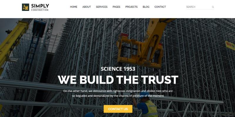 mẫu website xây dựng simply