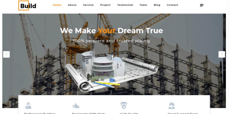mẫu thiết kế website xây dựng của mona
